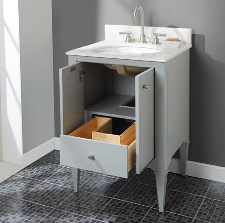 """*would have to be painted white* Charlottesville 24"""" Vanity shown w/ Fairmont's 25″ Blizzard Quartz Top.  Vanity is 24w x 21.5d x 34.5h (w/ 1.25"""" counter it would be 35.75h) $1102 net for cabinet & $330 net for a 1.25"""" thick porcelain top. Vanity & porcelain top are in stock as of 4/11 and lead time is 10 business days from order for delivery."""