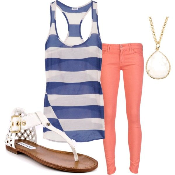 "Colors. Instead of coral pants maybe a coral cardigan with skinny jeans. ""Cool Cool Summer"" by vaneros on Polyvore"