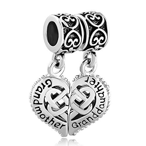 Bling Jewelry Gift Silver grandmother/granddaughter Heart Charm Suitable for Pandora Bracelets qiHvasnCwA