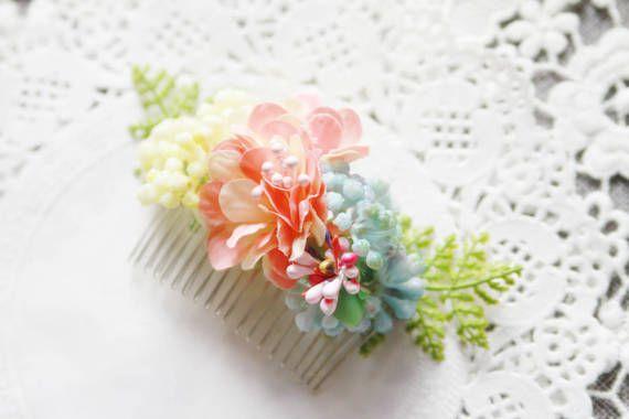 Bridal Hair Accessories Flower Hair Comb Bridal Hair by NAFEstudio