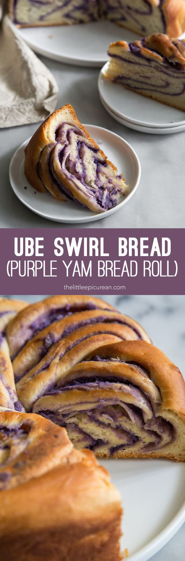 Ube Swirl Bread: soft yeasted dough filled with a sweet coconut and purple yam paste. It's an Filipino variation on a classic cinnamon roll.