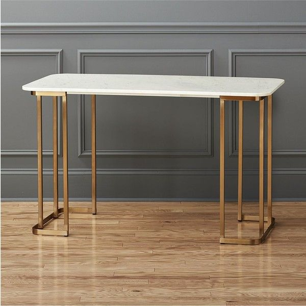 CB2 Dahlia Marble Desk ($699) ❤ liked on Polyvore featuring home, furniture, desks, cb2 furniture, cb2, lacquer desk, white home office desk and marble desk