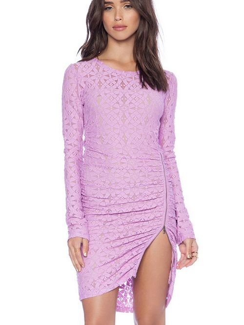Gauze pure color sexy lace decoration pretty dress HY-142518385