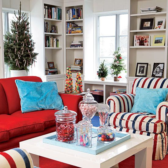 Christmas Decorating Ideas For 2013 : Christmas Living Room Decorations  With Blue Pillow On Red Sofa And Striped Armchair