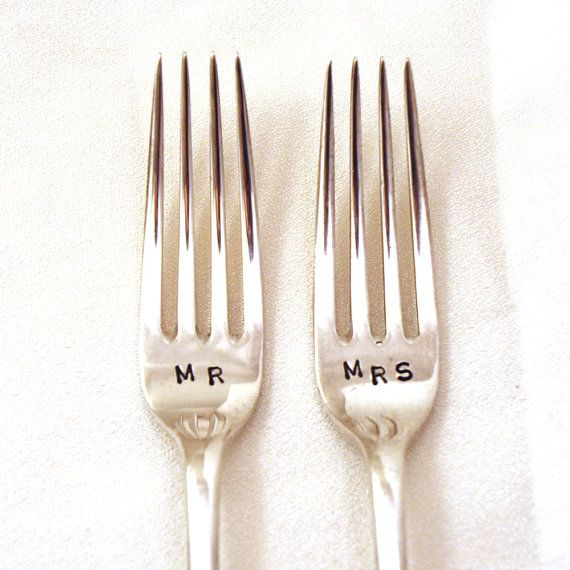 Personalised Custom Hand Stamped Vintage MR and MRS forks Goozeberry Hill - perfect wedding present / gift - As featured in BRIDES magazine