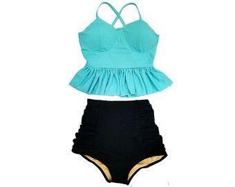 Artículos similares a Negro Midkini con aro superior y traje de rayas rayas alta talle cintura abajo traje de baño Bikini dos piezas nadar usar traje de baño trajes de baño S M L XL en Etsy