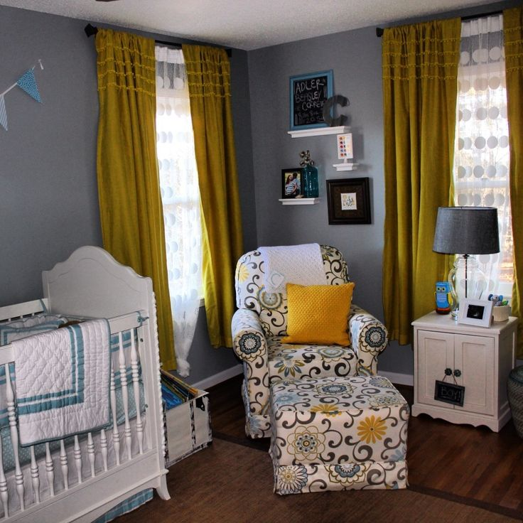 Excellent Nursery Ideas Unisex Bedroom Design With White Wood Baby Bedding And White Floral Pattern Sofa Also Grey Bedroom Wall With White Floating Shelving Along Brown Curtain As Well As Baby Rooms Decorations And , Sweet Design Unisex Baby Room Themes: Kids Room
