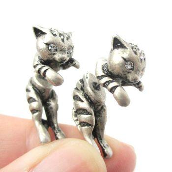 Nieuwe schattige 10pairs/lot 2015 kitty cat aniaml thema twee delen vrouwen nep stekker oorbel in zilver en brons anique ed085