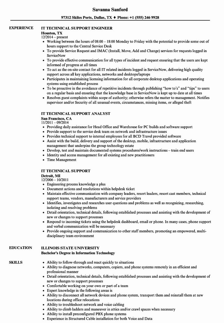 Technical Support Resume Examples Beautiful It Technical