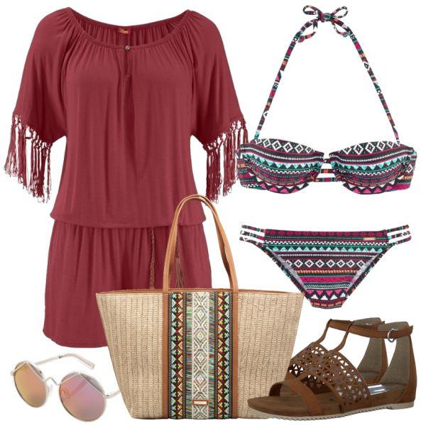 Sommer-Outfits: Indiana bei FrauenOutfits.de ___ Wow, ein schöner #Look für einen noch schöneren #Sommertag im #Schwimmbad oder am #See mit deinen #Liebsten. #fashion #fashionista #fashionblog #outfitblog #outfitinspiration #outfit #lascana #jumspuit #strandtasche #sandalen #sonnenbrille #sunglasses #lespecs
