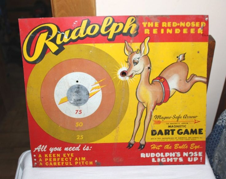 Rudolph the Red-Nose Reindeer Metal Tin Magnetic Dart Game. USA. Board only.