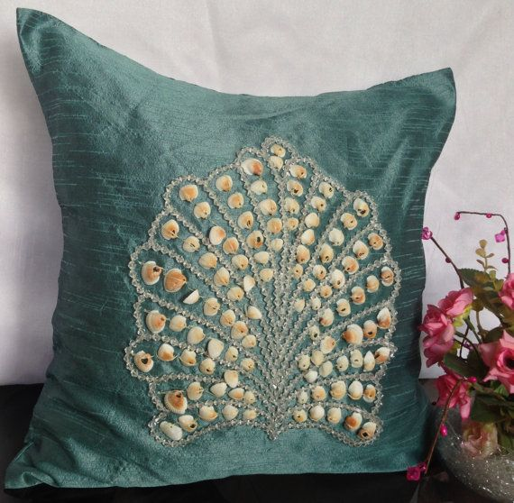 Shell Embroidery Decorative Pillow Nautical By TheWhitePetalsDecor