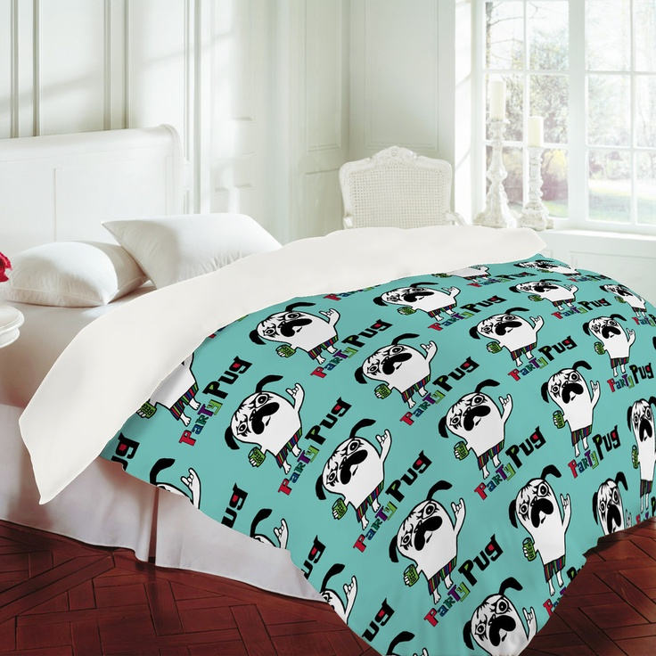 Andi Bird Party Pug Aqua Duvet Cover Design Home