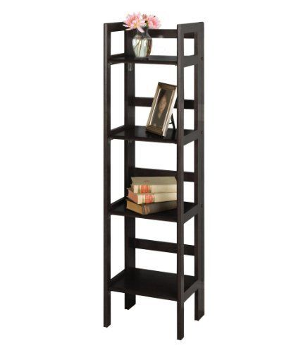 4-Tier Folding Shelf by Winsome. $82.10. Assembly Required Yes; Height 51.34; Width 11.4; Length 14; Style Transitional. This folding shelf comes in three different finishes to match any space. Use it in the bathroom for your towels, in the kids room for their stuff toys or in an office for books or files. Made of Solid beech wood.Color BlackFinished Dark Wood