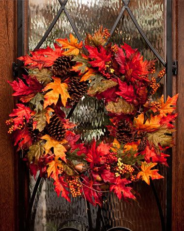 Silk Autumn Maple Wreath | Casual Autumn Home Decor. Could add the letter B in there somewhere!