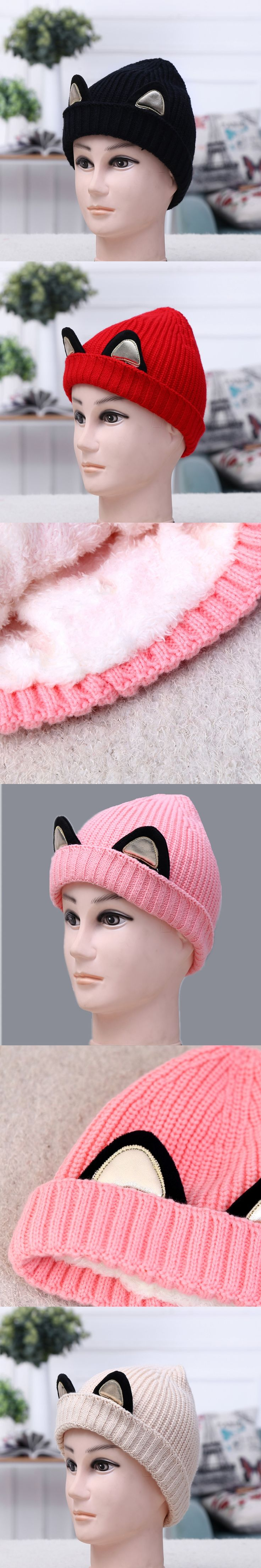 2018 Lovely Mom & Child Boy Girls Pom Pom Winter cat ear Caps Warm Fur Pom Bobble Knit Beanie Hat parenting fleece crochet Cap