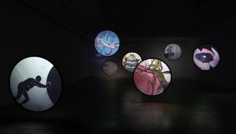 Revolving Stage – Contemporary Video Art in China @ Arario Gallery    Wu Junyong - Thousands of Moon (千月), 2012    (Nine channel animation with sound – 4 min)