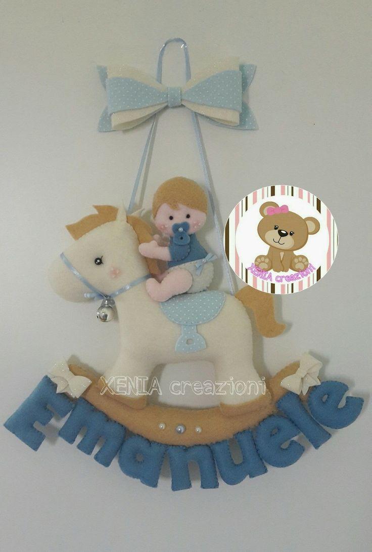 Fiocco nascita pony e orsetto con nome personalizzabile