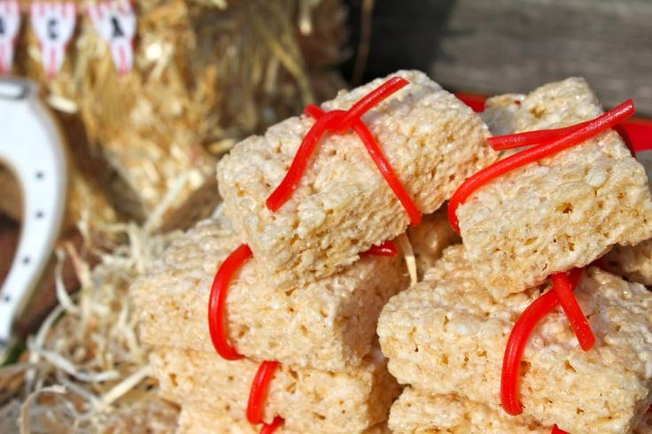 Rice Krispie Treat hay bails were a festive treat at this #cowboy party!  #western