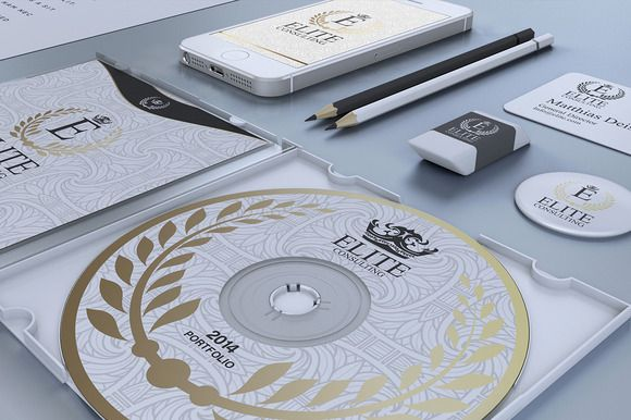 Gold And White Corporate Identity by Marvel on @creativemarket