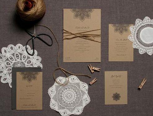 Our recycled doily invitation range http://www.papierdamour.com.au/weddings-1/papier-pret-a-porter.html