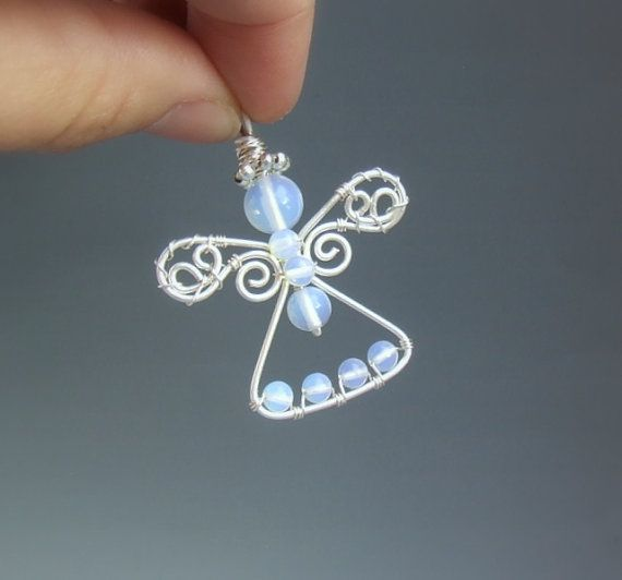 Guardian+angel+ornament+white+opalite+handmade+by+VeraNasfa,+$33.00