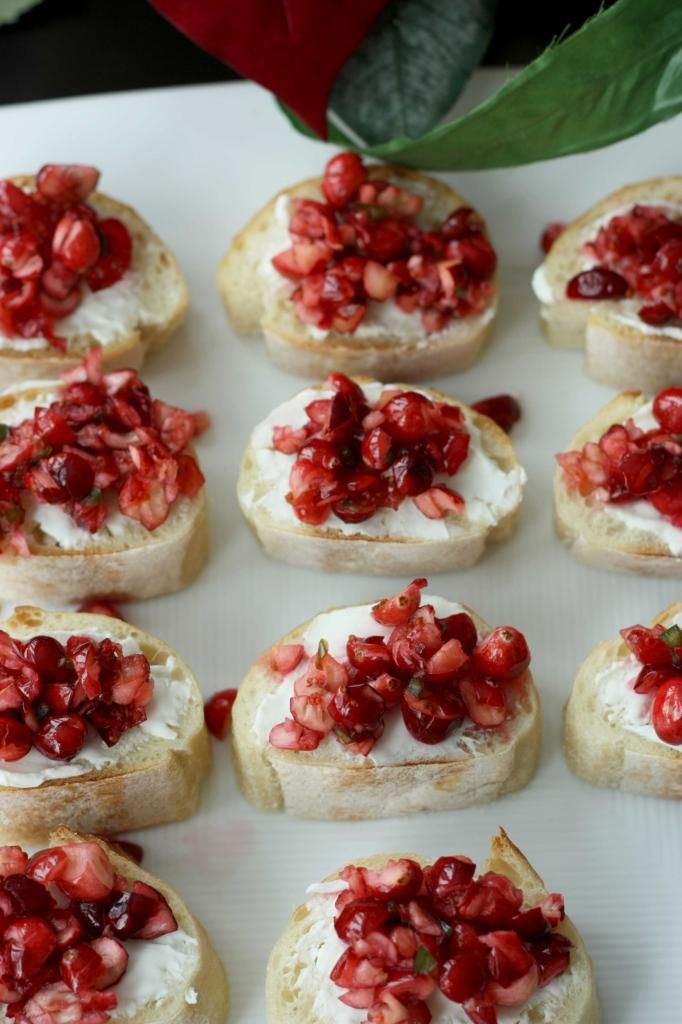 Cranberry goat cheese canapes. These are delicious. Perfect holiday appetizer.