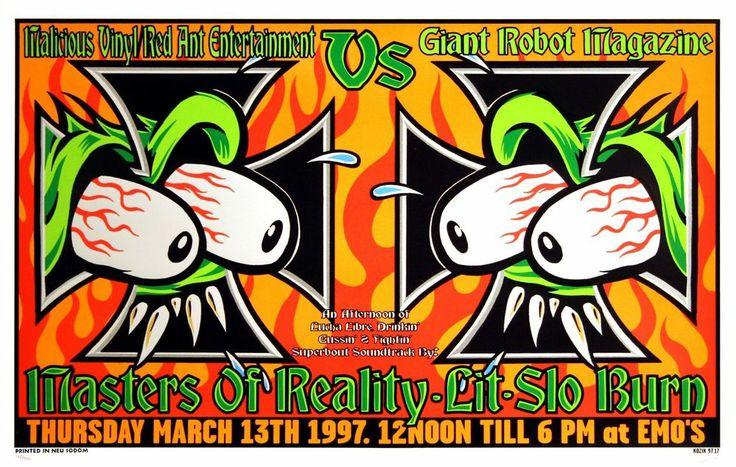 Masters of Reality 1997 Original Emo's Austin Concert Poster by Frank Kozik S/N #PopArt #kozik