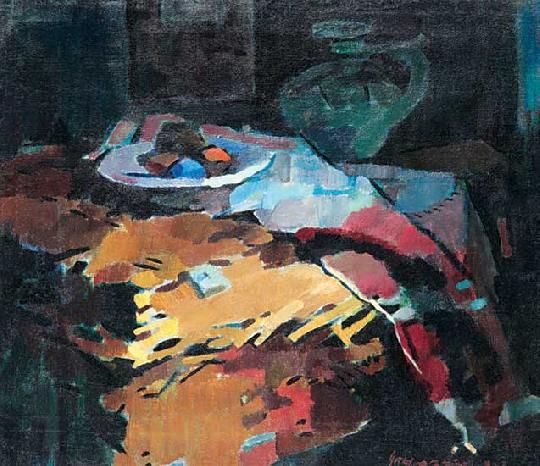 Nagy, Oszkár (1883-1965) - Still life with mulitcoloured hangings, 1938