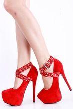 Sapatos de marca de Fundo Vermelho Camurça Frisado Plataforma com Tira No Tornozelo Stiletto Bombas de Casamento Sapatos De Salto Alto Mulheres Sapatos sapatos femininos sapato(China (Mainland))