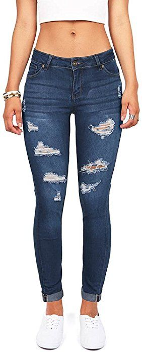 91e7ca7b3d80 Wax Denim Women's Juniors Distressed Slim Fit Stretchy Skinny Jeans (11, Medium  Denim) at Amazon Women's Jeans store