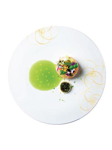 ザ・ペニンシュラ東京   「真鯛と甘エビの タルタル仕立て キャビアとカラフルな フラワーブーケ 柚子の香り ガーデングリーン クーリー」