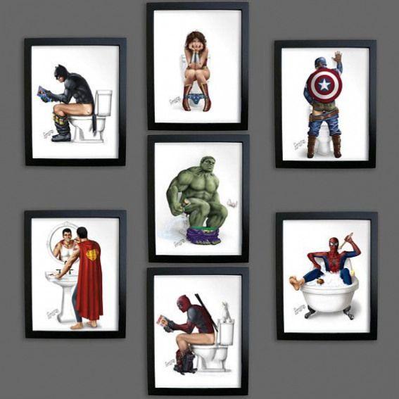 Superhero Bathroom Batman On The Toilet Pooping Poster Prints Superman Wonder Woman Captain America Co Superhero Bathroom Superman And Spiderman Poster Prints
