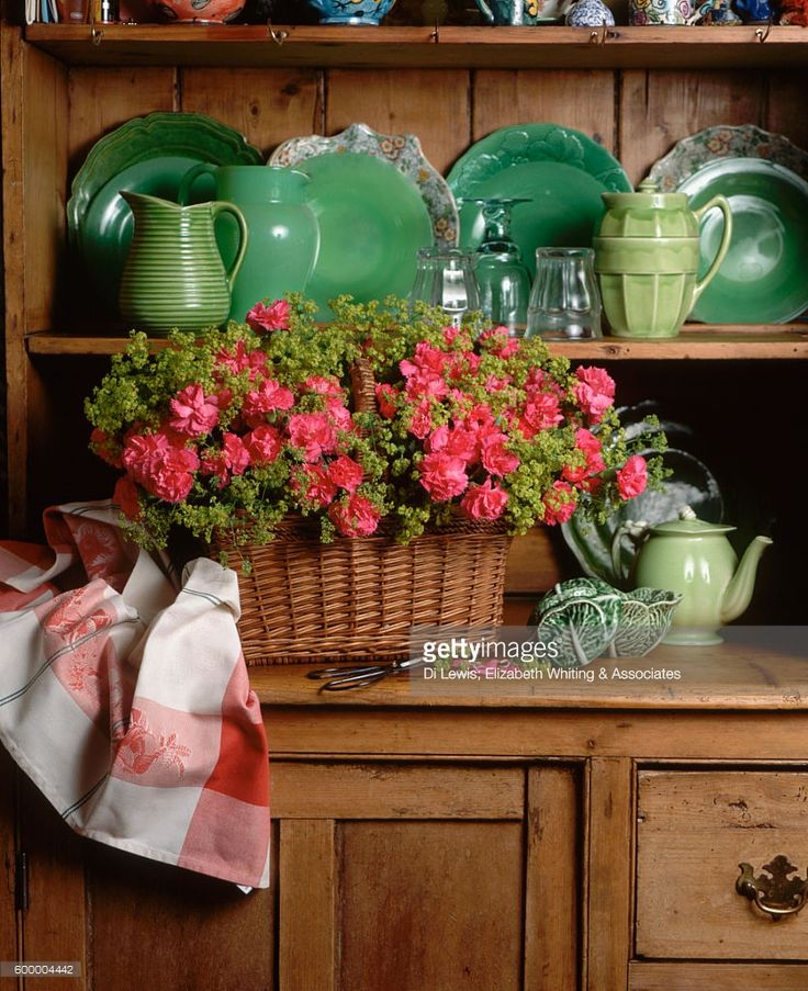 Flowers and Dishes on a Kitchen Cupboard