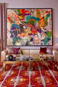 Don't let it scare you...embrace it if you want a room that sings.   Hide Rug: Greystone Collection, Hugh - contemporary - living room - austin - Kyle Bunting