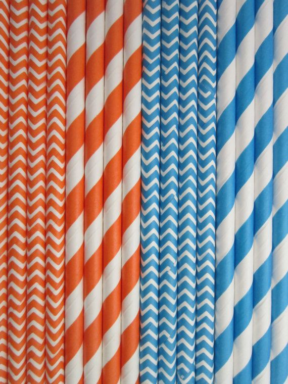 ChevronStripeOrangeBluePaper Drinking Straws Set by DKDeleKtables