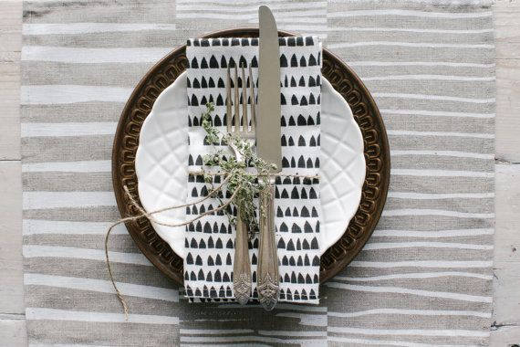 Linen Napkins Screen Printed with Modern House Pattern in Grey on White   Minimal Table Decor