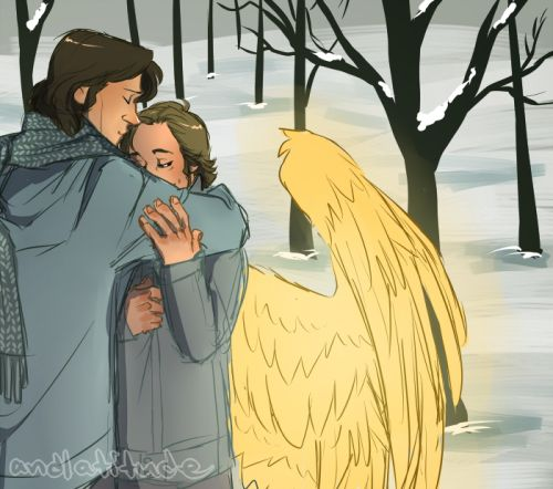 christmas picture ideas for brothers - Sam and Gabriel Supernatural Fan Art
