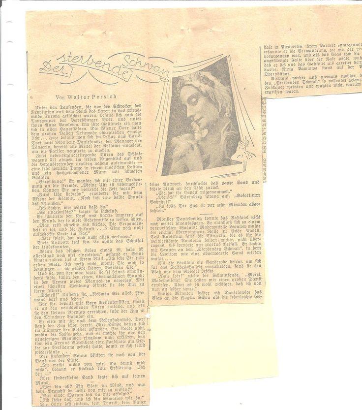 Anna Pavlova Clipping German Newspaper Picture Story Plus Translation