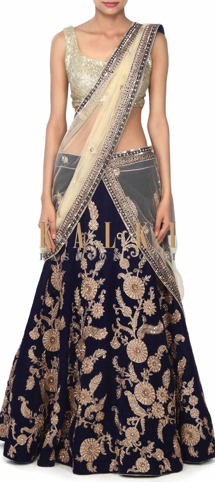 Buy this Navy blue lehenga adorn in zardosi embroidery only on Kalki