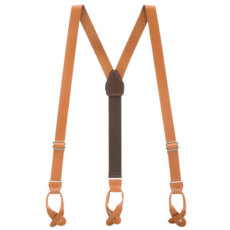 "Natural Leather Button Suspenders - 1"" Tan All-Leather Suspenders"
