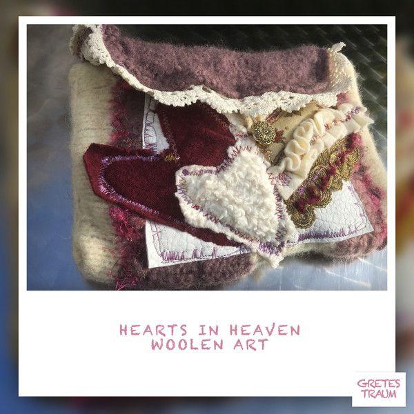 Clutches - CLUTCH, HEARTS IN HEAVEN, weiß,rot,Brokat,retro - ein Designerstück von GretesTraum bei DaWanda