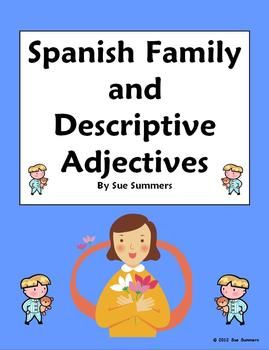 spanish family descriptive adjectives 15 vocabulary. Black Bedroom Furniture Sets. Home Design Ideas
