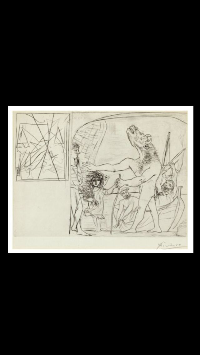 """Pablo Picasso - """" Minotaure aveugle guidé une fillette, I """", September 22, 1934 - Prints and multiples, drypoint, scraper and chisel on copper on Montval laid; untrimmed - 252 x 347 mm (*) (..)"""