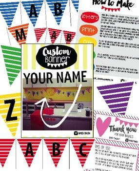 Personalized Teacher Name Banner - Rainbow Stripes