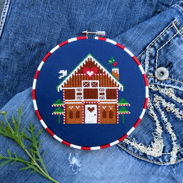 Christmas cross stitch pattern - gingerbread house.