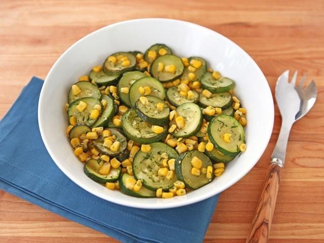 Zucchini Corn Sauté 2 large zucchini, 1 lb. total 2 tbsp olive oil 1 ...