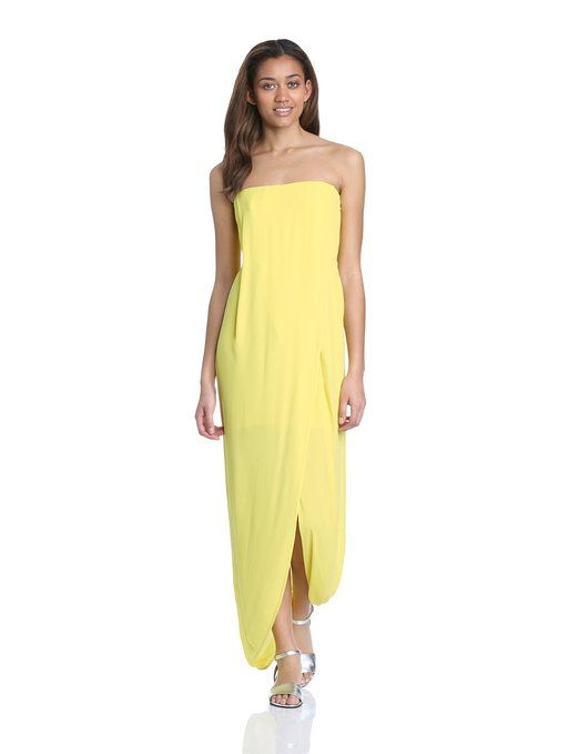 BCBGMAXAZRIA Women's Jesse Draped Strapless Evening Dress, Bright Chartreuse, 6