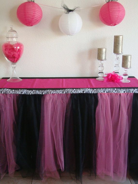 Rock star themed party for the girls table cover, made of tulle.