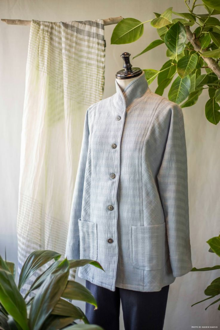 GRAPE Motomachi / Dobby Stripe Jacket #dobbyweave #cotton #linen #jacket #babyblue #grapemotomachi